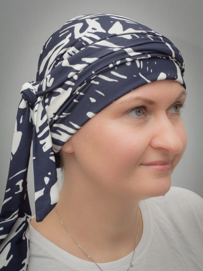 Narcissus Navy/White | Scarves for chemo and alopecia patients